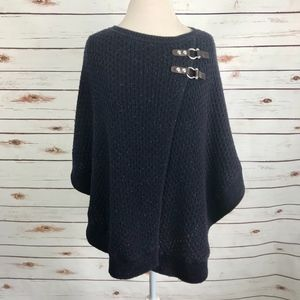 Talbots Blue Knit Sweater Poncho Cape